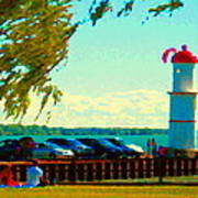 Go Fly A Kite Off A Short Pier Lachine Lighthouse Summer Scene Carole Spandau Montreal Art  Poster