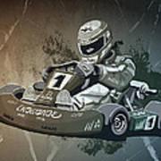 Go-kart Racing Grunge Monochrome Poster