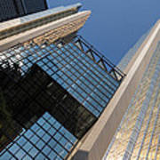 Gold Black And Blue Geometry - Royal Bank Plaza Poster