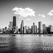 Gold Coast Skyline In Chicago Black And White Picture Poster