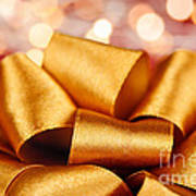 Gold Gift Bow With Festive Lights Poster