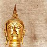 Gold Painted Buddha Statue Poster