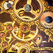 Gold Pocket Watch Gears Poster by Garry Gay
