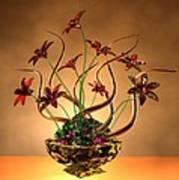 Gold Spirals Glass Flowers Poster