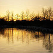 Golden And Peaceful - A Sunset On Lake Ontario In Toronto Canada Poster