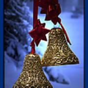 Golden Bells Blue Greeting Card Poster