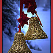 Golden Bells Red Greeting Card Poster