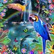 Golden Bluebirds Paradise Version 2 Poster