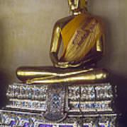 Golden Buddha On Pedestal Poster