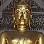 Golden Buddha Temple Statue Poster