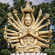 Golden Buddha With Many Arms Poster