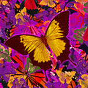 Golden Butterfly Painting Poster