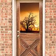 Golden Doorway Window View Poster