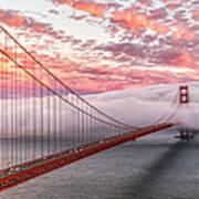 Golden Gate Bridge Sunset Evening Commute Poster