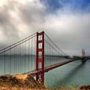 Golden Gate In The Clouds Poster by Peter Tellone