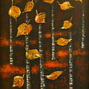 Golden Leaves 1 Poster by Elena  Constantinescu
