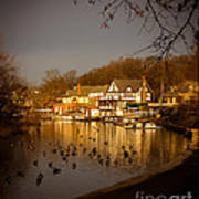 Golden Light At Boathouse Row Poster