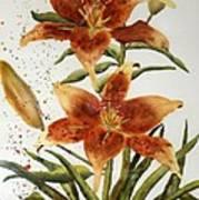 Golden Lilies Poster