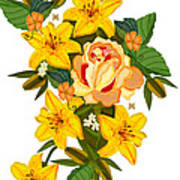 Golden Lily Flowers With Golden Rose Poster