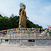 Golden Maitreya Statue, Beopjusa Temple Poster