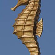 Golden Seahorse Poster