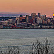 Golden Seattle Skyline Sunset Poster