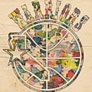 Golden State Warriors Vintage Art Poster