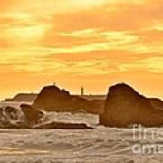 Golden Sunset At Ruby Beach Poster