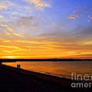 Golden Sunset On The Harbor Poster