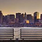 Golden Sunset Over Boston Poster