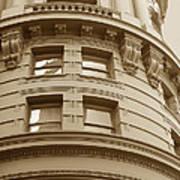 Golden Vintage Building Poster