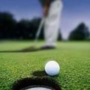 Golf Ball Near Cup Poster