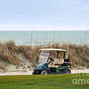 Golf Cart At Kiawah Island Golf Course Poster