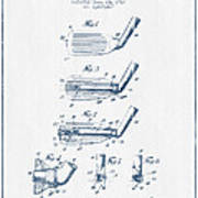 Golf Club Patent Drawing From 1917 - Blue Ink Poster