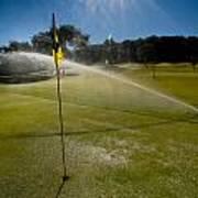 Golf Course Sprinkler On Sunny Day Poster