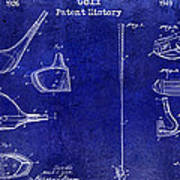 Golf Patent History Drawing Blue Poster