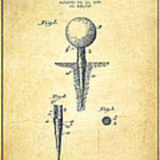 Golf Tee Patent Drawing From 1899 - Vintage Poster