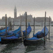 Gondolas On Grand Canal Poster