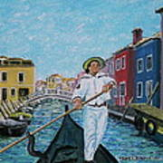 Gondolier At Venice Italy Poster