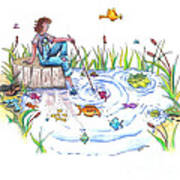 Gone Fishing Poster by Kelly Walston