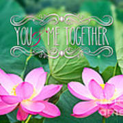 Gorgeous Pair Pink Lotus Couple Blossoms Green Leaves Poster