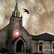 Gothic Surreal Haunted Church And Steeple With Crows And Ravens Flying  Poster