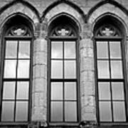 Gothic Windows - Black And White Poster