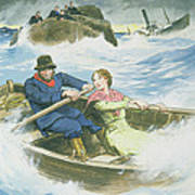 Grace Darling And Her Father Rescuing Poster