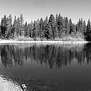 Grace Lake Reflections In Black And White Poster