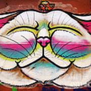 Graffiti Smiling Cat With Bird Poster