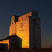Sunset Grain Elevator At Meadows Poster by Steve Boyko