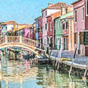 Grand Canal Burano  Venice Poster