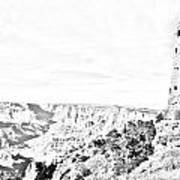 Grand Canyon National Park Mary Colter Designed Desert View Watchtower Black And White Line Art Poster