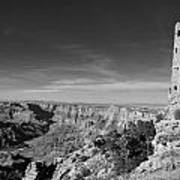 Grand Canyon National Park Mary Colter Designed Desert View Watchtower Near Sunset Black And White Poster